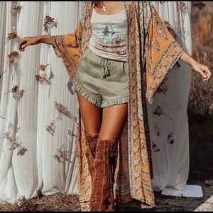 Spell And The Gypsy Collective Sage Linen Shorts